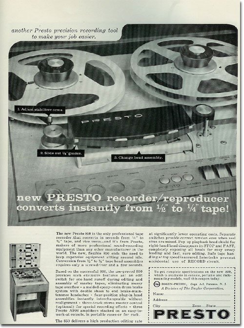 Bogan Presto ads from 1960 in the Reel2ReelTexas.com vintage recording collection