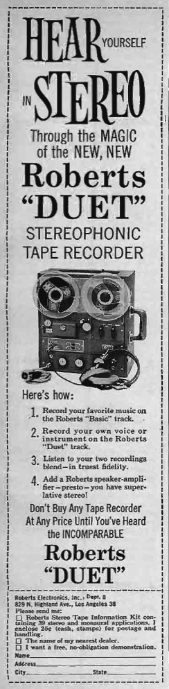 1960 ad for Roberts Recorder reel to reel tape recorders in the Reel2ReelTexas.com & Museum of Magnetic Sound Recording vintage recording collection