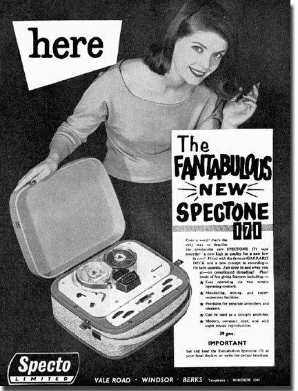 1958 Spectone tape recorder ad in the Reel2ReelTexas.com - Museum of Magnetic Sound Recording  vintage recording collection