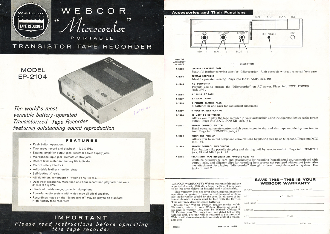 1960 ad for the Webcor Microcorder portable  reel to reel tape recorder in the Reel2ReelTexas.com vintage recording collection
