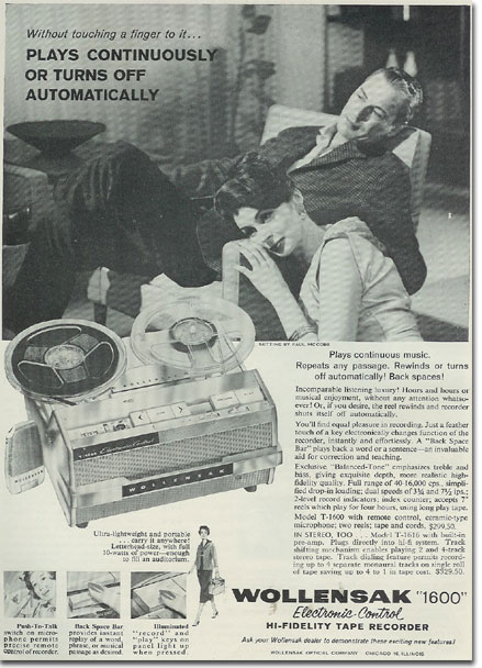 1960 Wollensak ad for  reel tape recorder in the Reel2ReelTexas.com vintage reel tape recorder recording collection