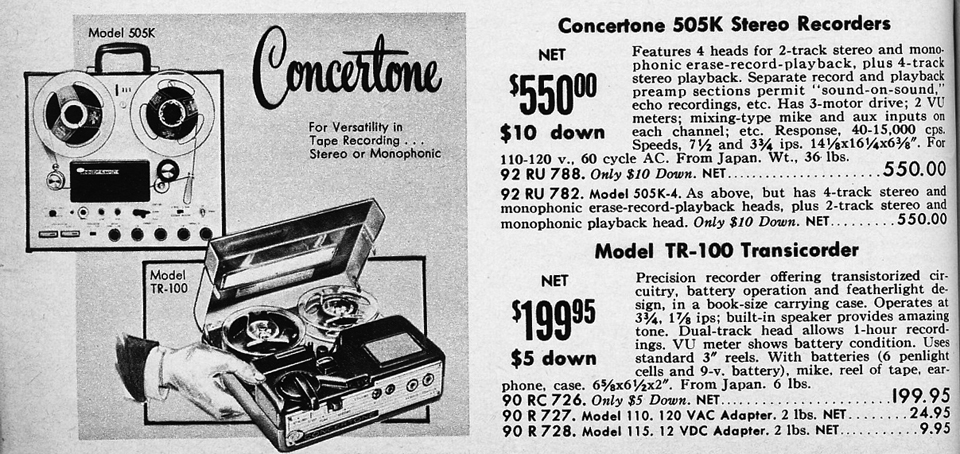 1961 ad for Concertone reel to reel tape recorders in the Reel2ReelTexas.com vintage recording collection