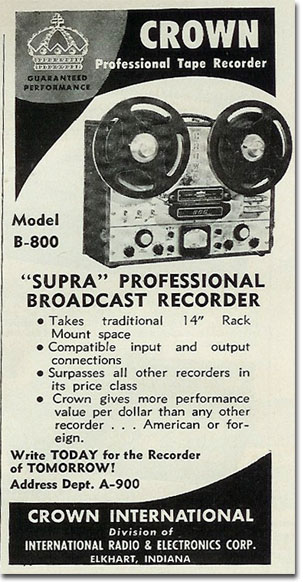 1961 Crown reel to reel tape recorder ad in the Reel2ReelTexas.com vintage recording collection