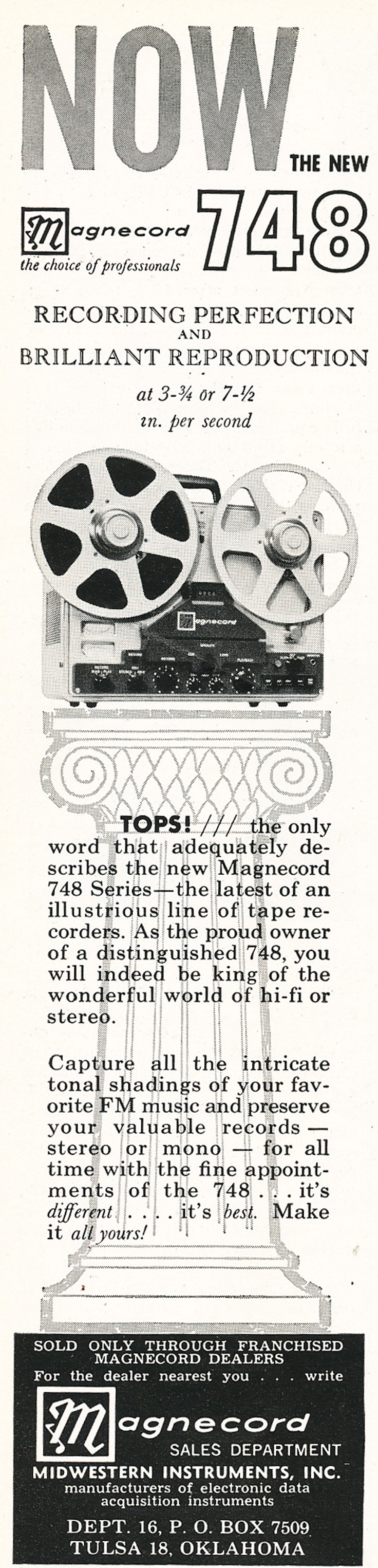 1961 ad for the Magnecord reel to reel tape recorder in the Reel2ReelTexas.com MOMSR vintage recording collection