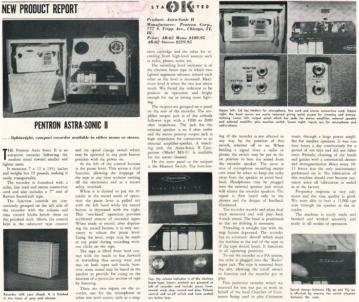 1961 review of the Pentron Astro-Sonic IIreel tape recorders in the Reel2ReelTexas.com vintage recording collection