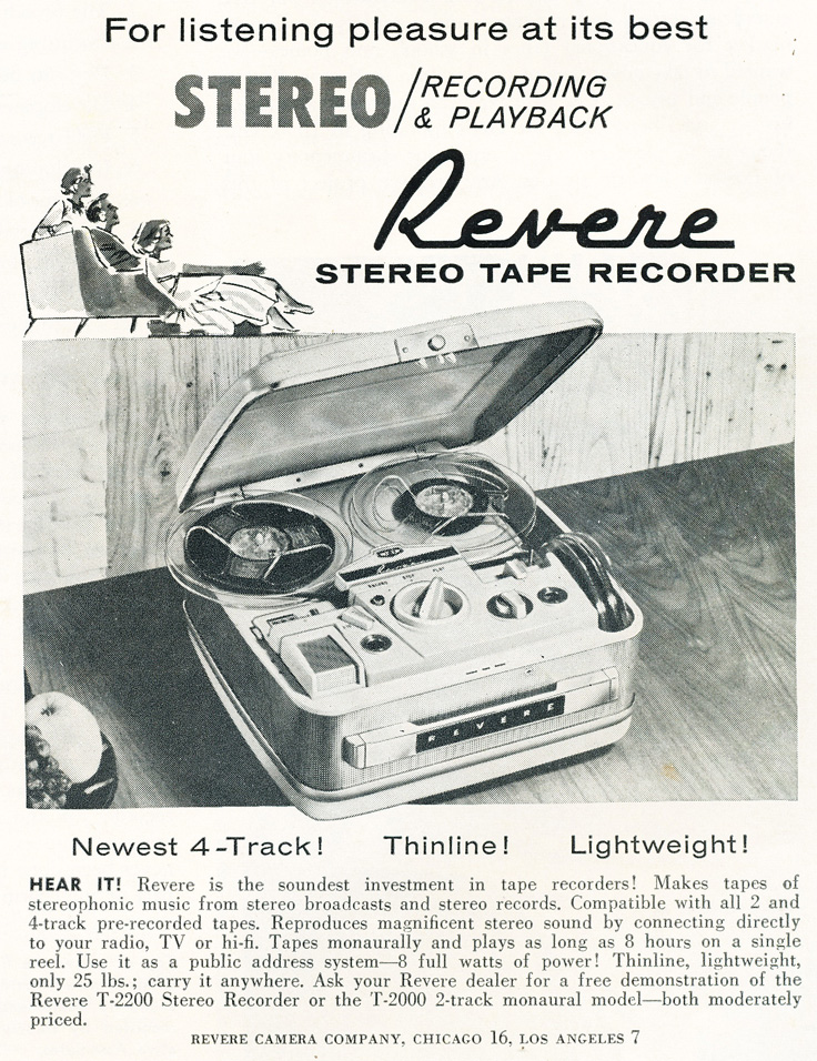 1961 Revere reel tape recorder ad in the Reel2ReelTexas.com vintage reel tape recorder recording collection