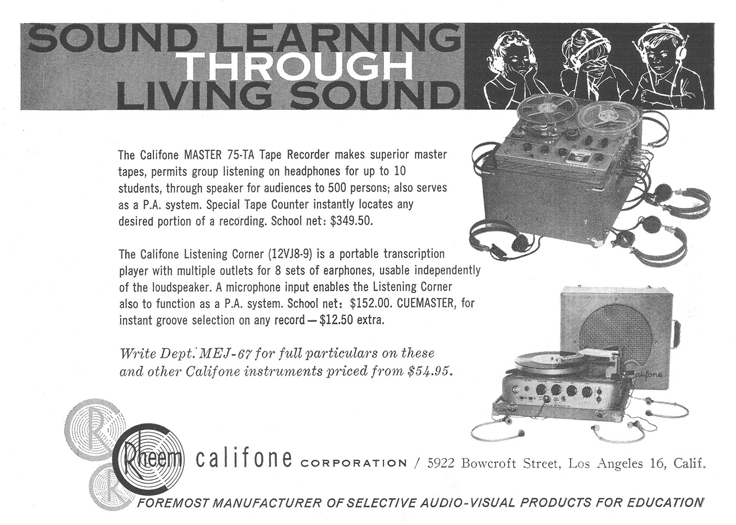 1961 ad for Rheem Califone  in the Museum of Magnetic Sound recording
