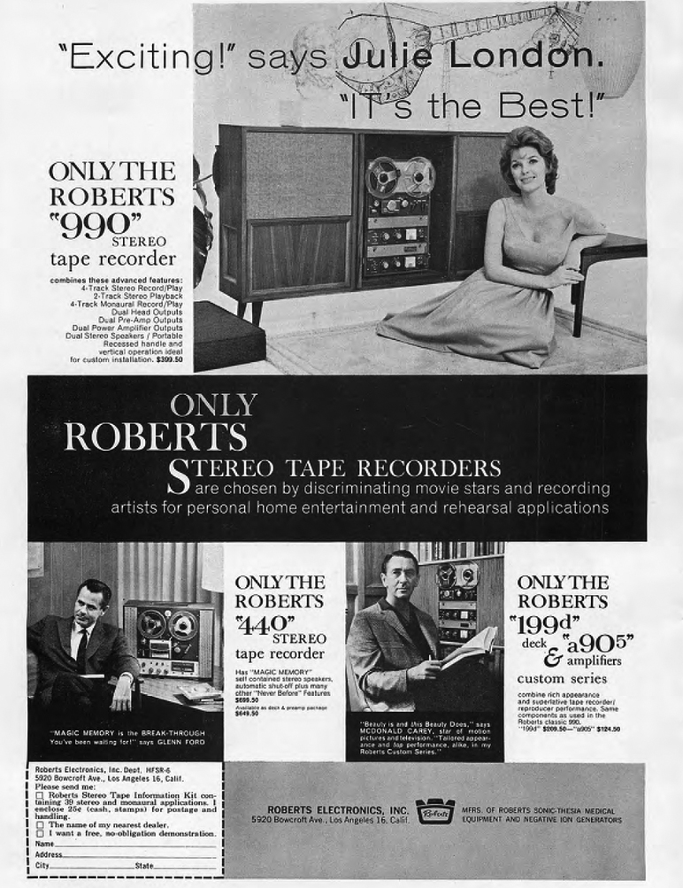 1961 Roberts 990 reel to reel tape recorder ad featuring Julie London, John Ford and McDonald Carey in the reel2reeltexas.com and Museum of Magnetic Sound Recording vintage reel tape recorder recording collection