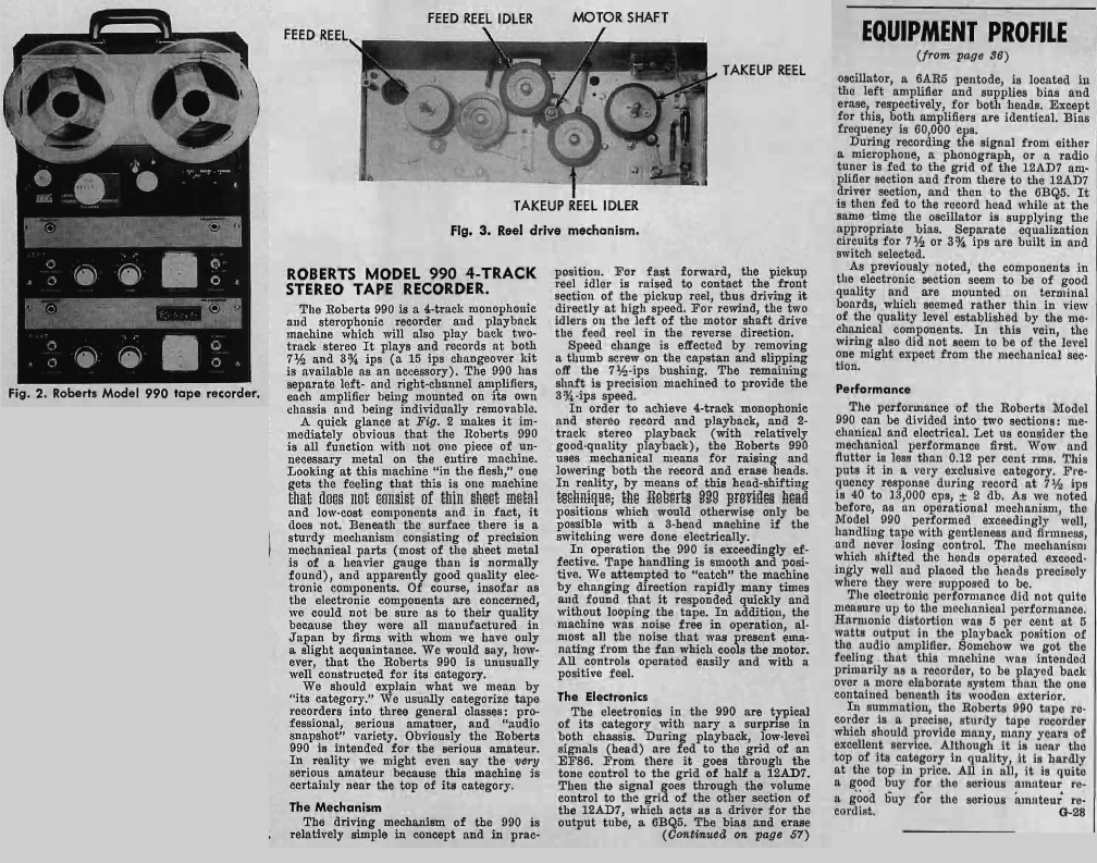 1961 review of Roberts Recorder.990 reel to reel tape recorders in the Reel2ReelTexas.com & Museum of Magnetic Sound Recording vintage recording collection