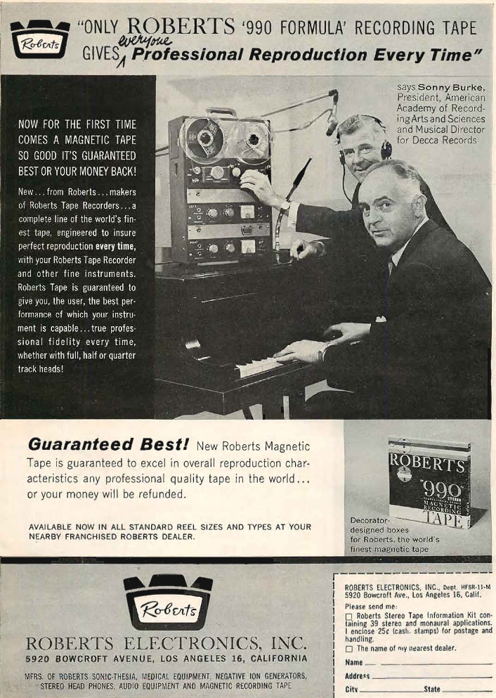 1961 Roberts 1040 reel to reel tape recorder ad featuring Sonny Burke in the reel2reeltexas.com and Museum of Magnetic Sound Recording vintage recording collection