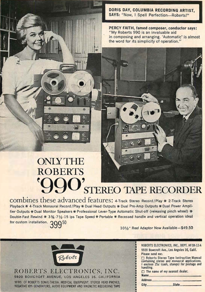 1961 Roberts 990 reel to reel tape recorder ad featuring Doris Day and Percy Faith in the reel2reeltexas.com and Museum of Magnetic Sound Recording vintage reel tape recorder recording collection