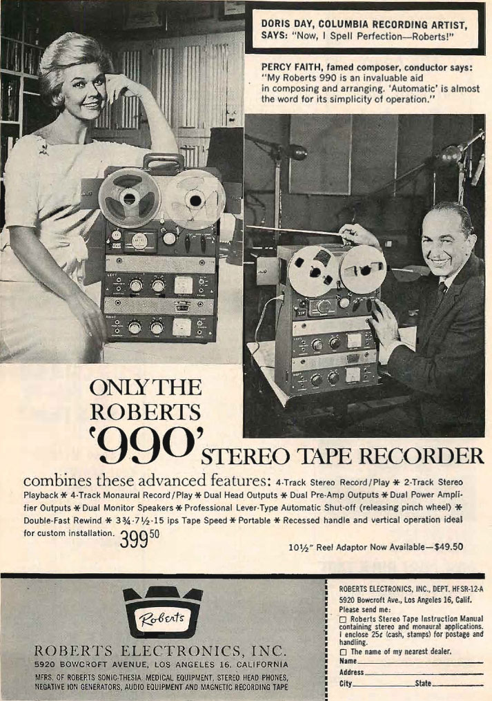 1961 ad Roberts Recorder.990 reel to reel tape recorders in the Reel2ReelTexas.com & Museum of Magnetic Sound Recording vintage recording collection