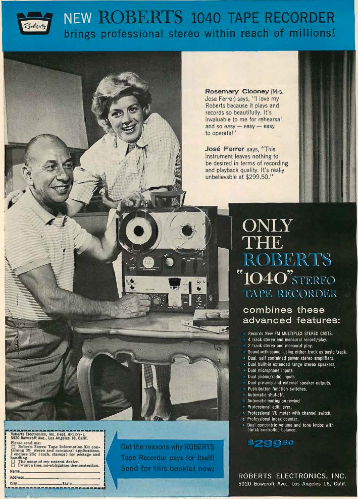 1961 Roberts 1040 reel to reel tape recorder ad featuring Rosemary Clooney and Jose Ferrer in the reel2reeltexas.com and Museum of Magnetic Sound Recording vintage reel tape recorder recording collection