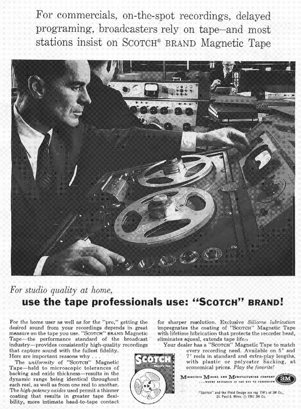 3M Scotch recording tape ads in the Museum of Magnetic Sound Recording's vintage recording collection