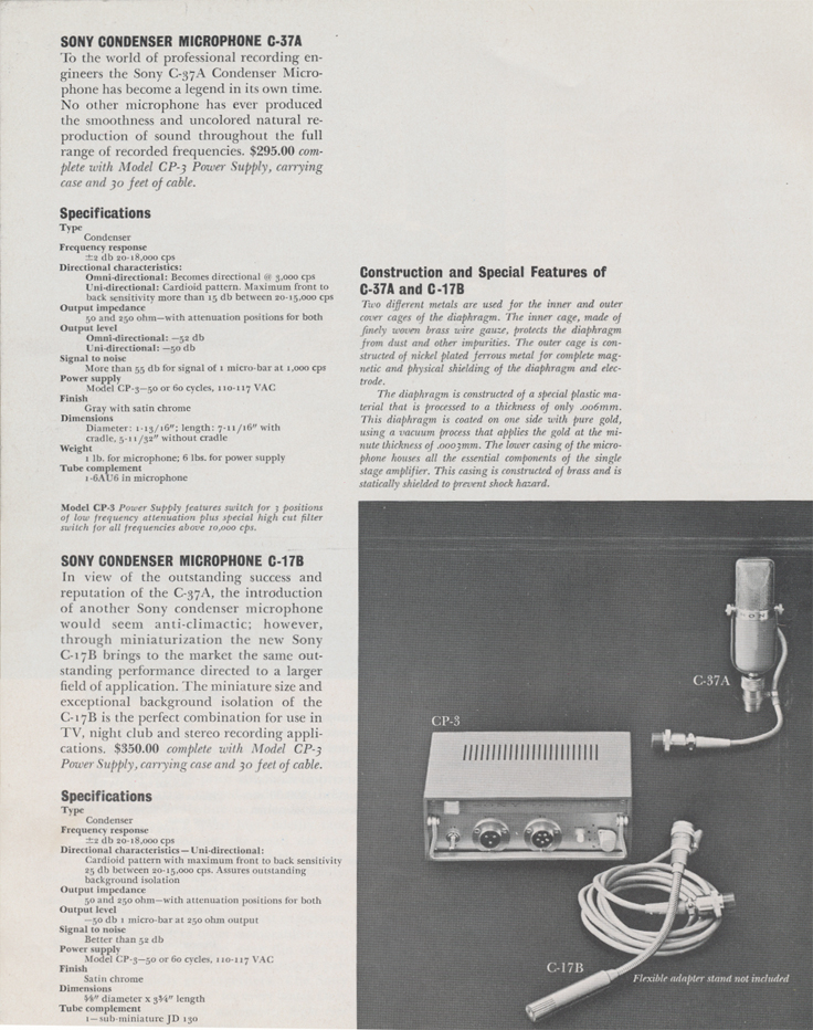 Sony C37A microphone in 1961 Sony catalog in   Phantom Productions images/R2R/vintage reel tape recorder collection