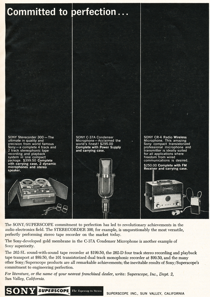 1961 ad for Sony professional audio products in Reel2ReelTexas.com's images/R2R/vintage recording collection