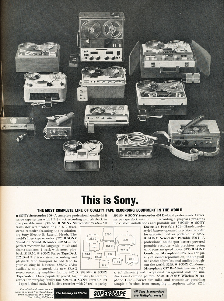 1961 ad for the Sony line of reel to reel tape recorders in   Phantom Productions images/R2R/vintage recording collection