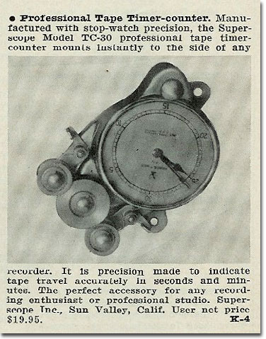 1961 write-up on the Superscope tape timer in the Reel2ReelTexas.com vintage recording collection