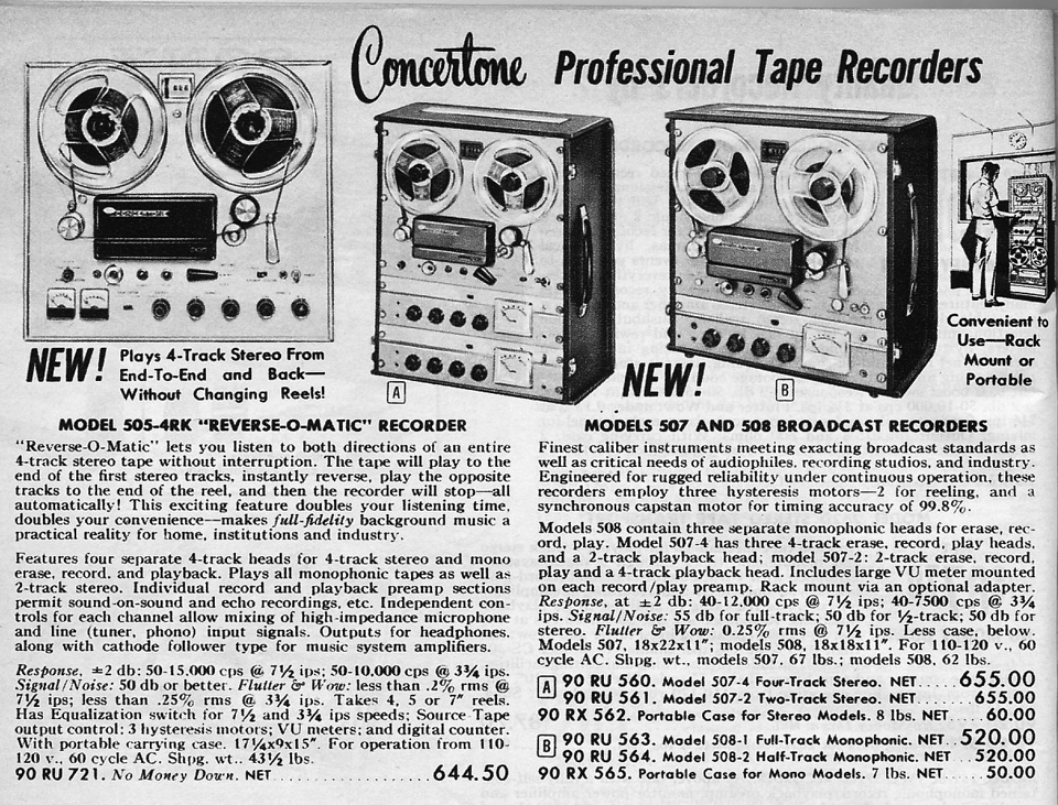 1962 ad for Concertone reel to reel tape recorders in the Reel2ReelTexas.com vintage recording collection