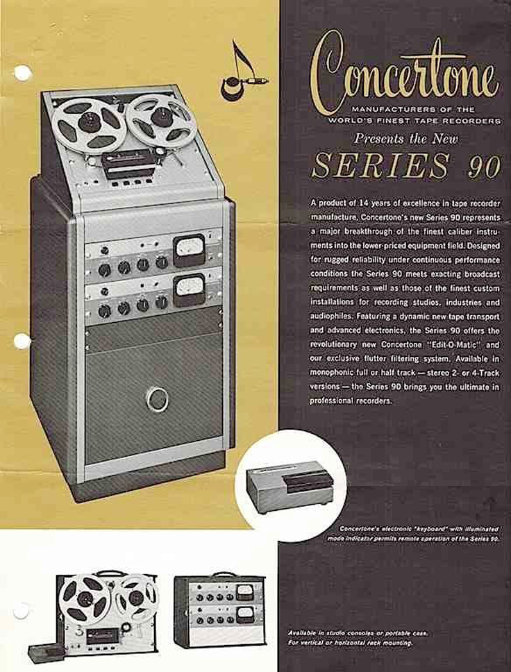 1962 ad for the professional Concertone 90  reel to reel tape recorders in the Reel2ReelTexas.com vintage recording collection