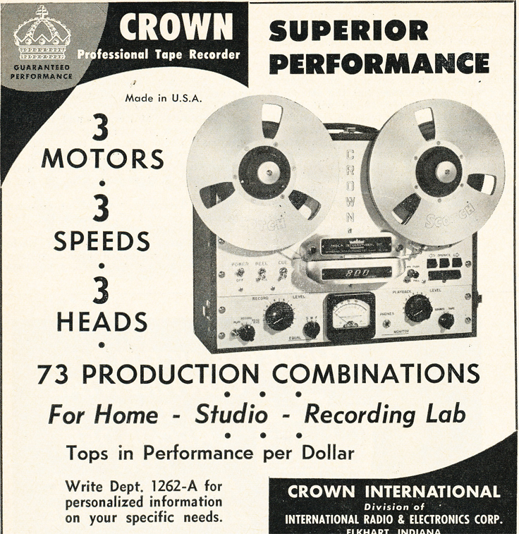 1962 Crown reel to reel tape recorder ad in the Reel2ReelTexas.com vintage recording collection