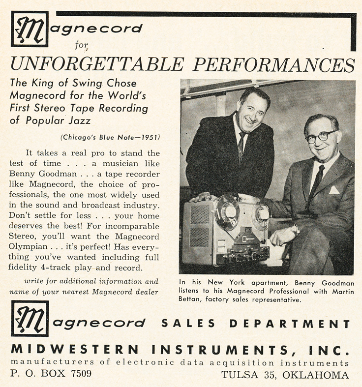 1962 ad for Magnecord reel to reel tape recorders featuring Benny Goodman in the Reel2ReelTexas.com vintage recording collection
