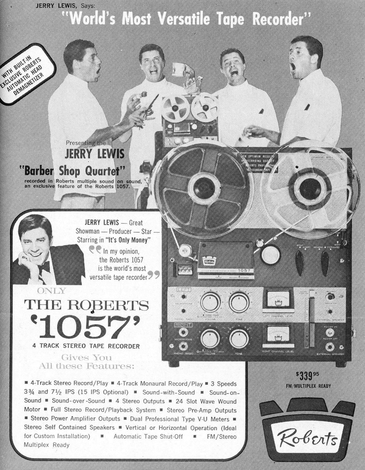 1962 ad for the Roberts 1057 reel to reel tape recorder featuring Jerry Lewis in the Reel2ReelTexas.com vintage recording collection