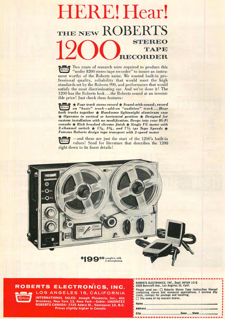 1962 ad for the Roberts 1200 reel to reel tape recorder in the Reel2ReelTexas.com vintage reel to reel tape recorder collection