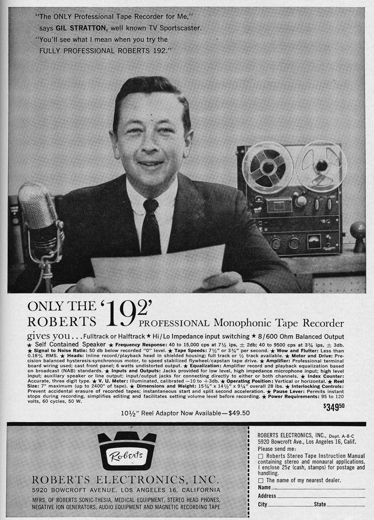 1961 ad for Roberts Recorder. Califone and Rheem  reel to reel tape recorders in the Reel2ReelTexas.com & Museum of Magnetic Sound Recording vintage recording c