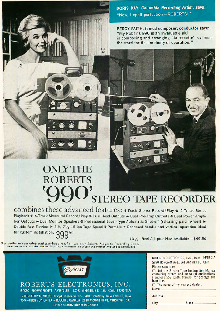 1962 ad for the Roberts 990 reel to reel tape recorder featuring Doris Day and Percy Faith  in Reel2ReelTexas.com vintage reel to reel tape recorder collection