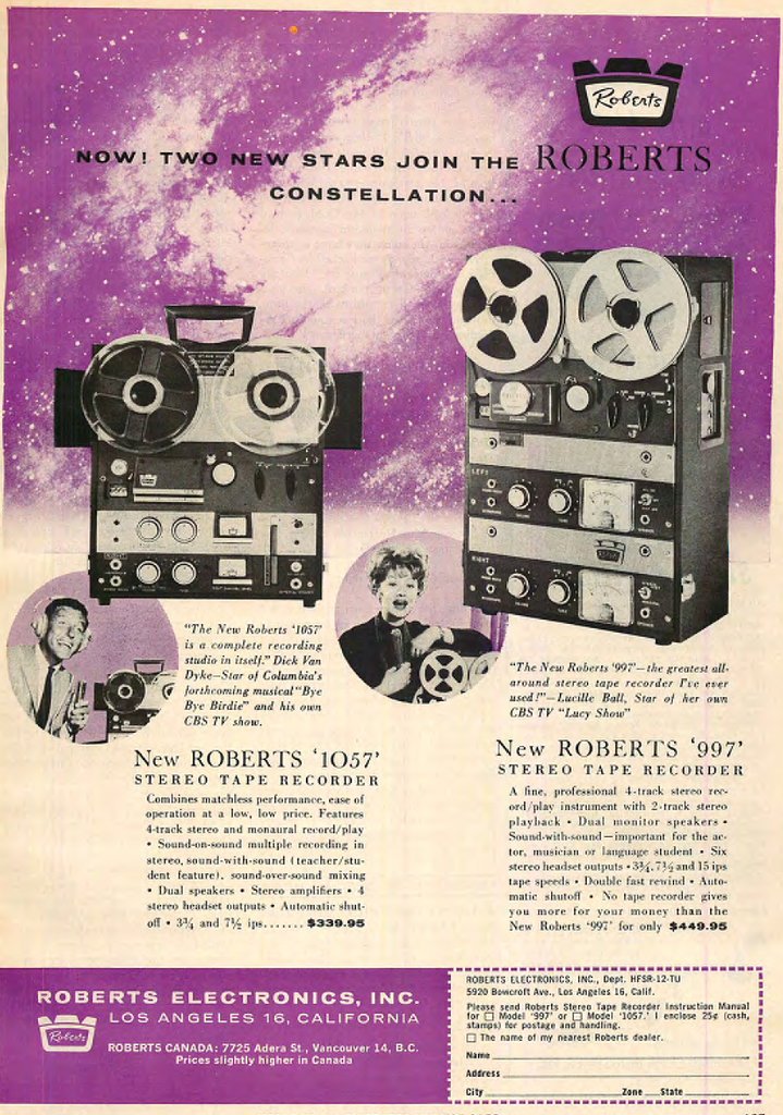 1962 ad for the Roberts 1057 reel to reel tape recorder featuring Dick Van Dyke and the Roberts 997 reel to reel tape recorder featuring Lucille Ball in Reel2ReelTexas.com  vintage reel to reel tape recorder collection
