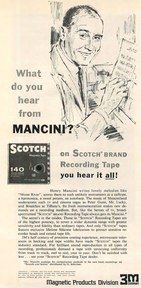1962 ad for 3M Scotch reel to reel recording tape featuring Henry Mancini in the Reel2ReelTexas.com vintage recording collection