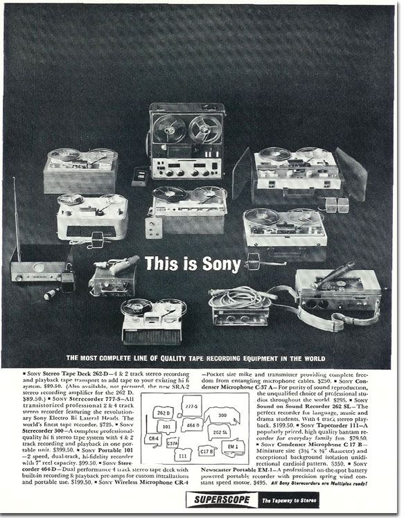 1962 ad for Sony reel to reel tape recorders in the Reel2ReelTexas.com's images/R2R/vintage recording collection
