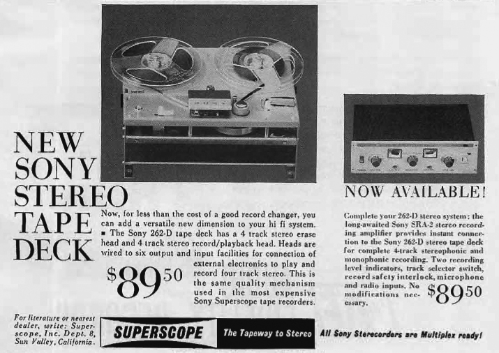 1962 ad for the Sony Superscope 262-D  tape recorder in the Phantom Productions images/R2R/vintage recording collection