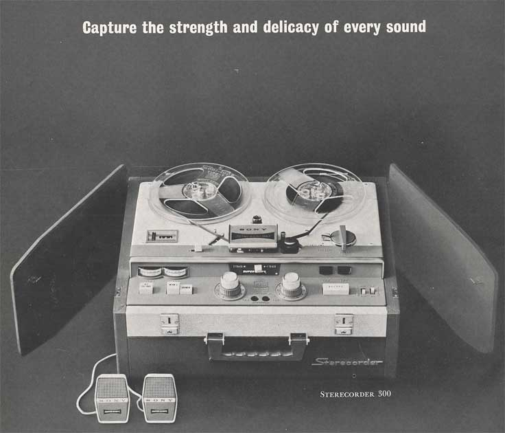1962 Sony brochure page showing the Sony 300 tape recorder  in Reel2ReelTexas.com's images/R2R/vintage recording collection