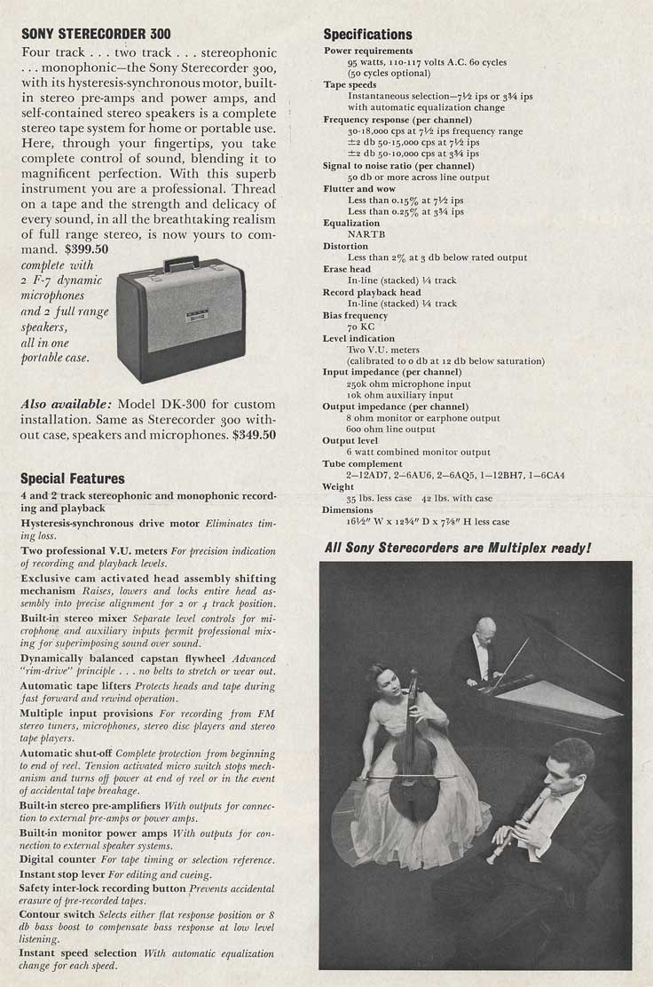 1962 Sony brochure page showing the Sony 300 tape recorder specs in Reel2ReelTexas.com's images/R2R/vintage recording collection