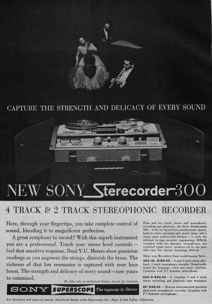 1962 Sony ad showing the Sony 300 tape recorder  in Reel2ReelTexas.com's images/R2R/vintage recording collection