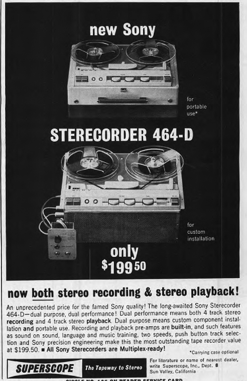 1962 ad for the Sony Superscope 464-D  tape recorder in the Phantom Productions images/R2R/vintage recording collection