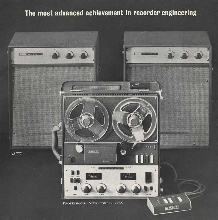 1962 Sony brochure page showing the Sony 777 tape recorder  in Reel2ReelTexas.com's images/R2R/vintage recording collection