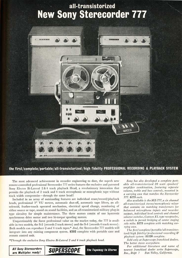 1962 ad for the Sony 777 professional reel to reel tape recorder in Reel2ReelTexas.com's images/R2R/vintage recording collection