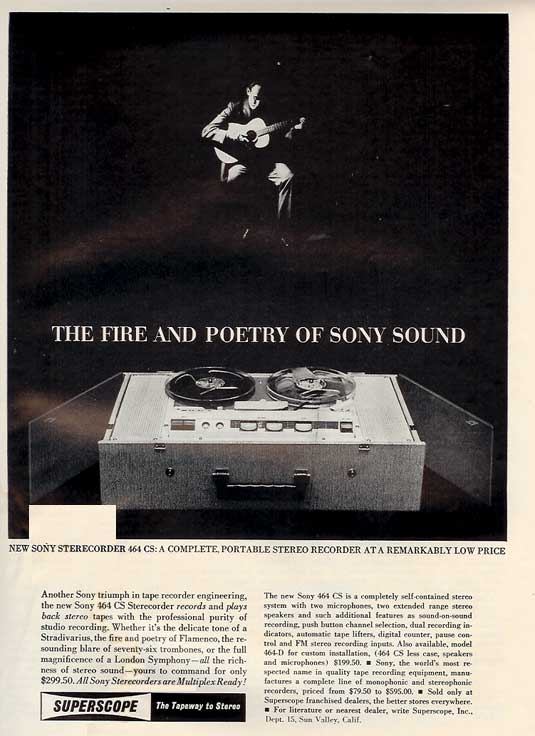 1962 ad for the Superscope tape recorder in the Phantom Productions images/R2R/vintage recording collection