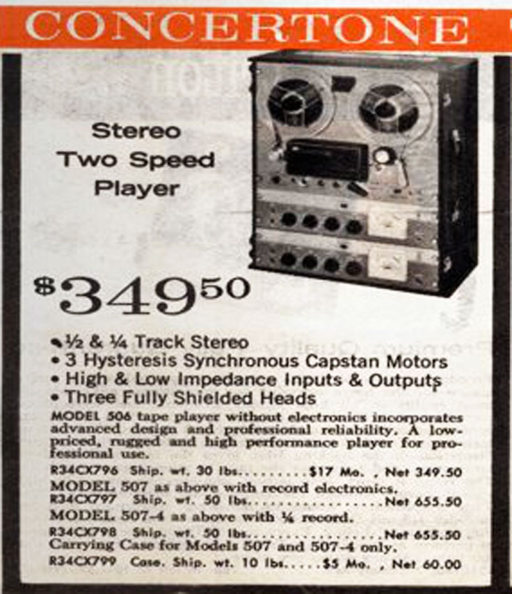 Similar recorder marketed under the Concertone brand in the 1962 Radio Shack catalog.