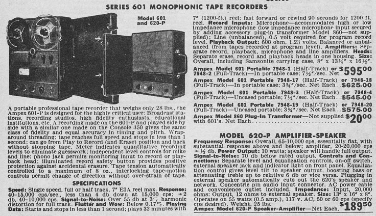 1963 McGee Radio catalog  ad for the Ampex 601 professional reel to reel tape recorder in the Reel2ReelTexas.com vintage recording collection