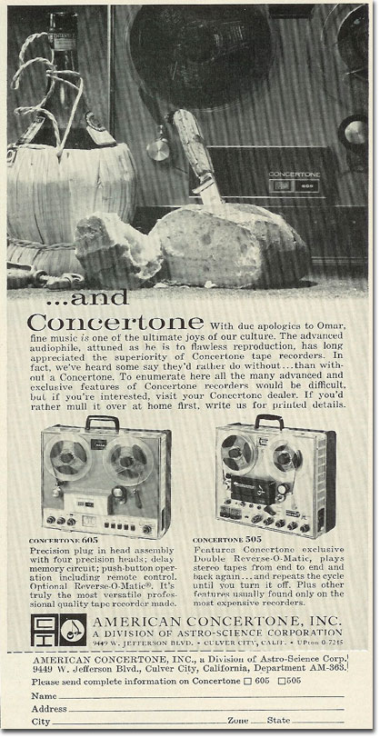 1963 ad for Concertone reel to reel tape recorders in the Reel2ReelTexas.com vintage recording collection