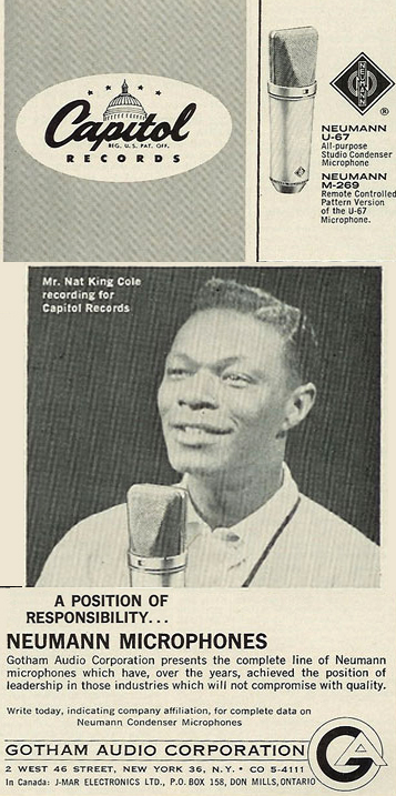 1963 ad for Neumann microphones featuring Nat King Cole in the Reel2ReelTexas.com vintage recording collection