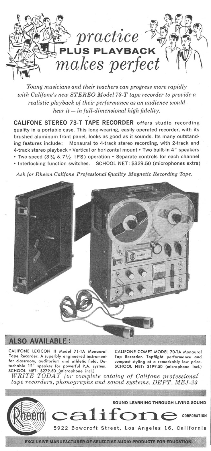 1963 ad for the Rheem Califone 73T reel to reel tape recorder in Reel2ReelTexas.com's vintage recording collection