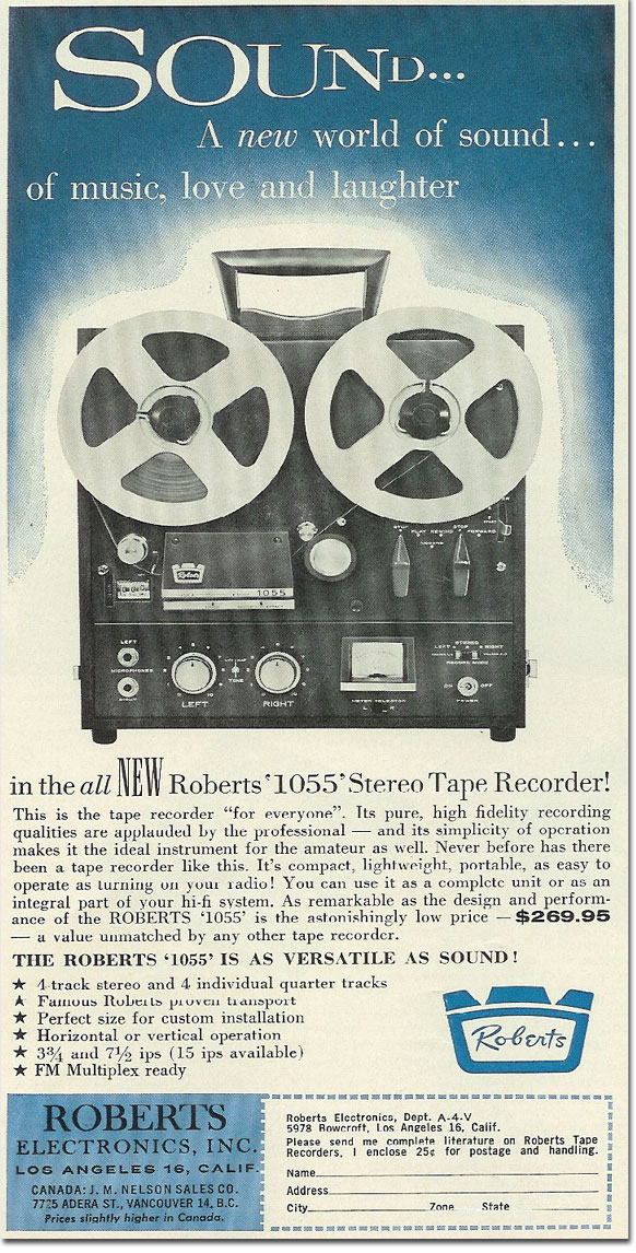 picture of 1963 Roberts tape recorder ad