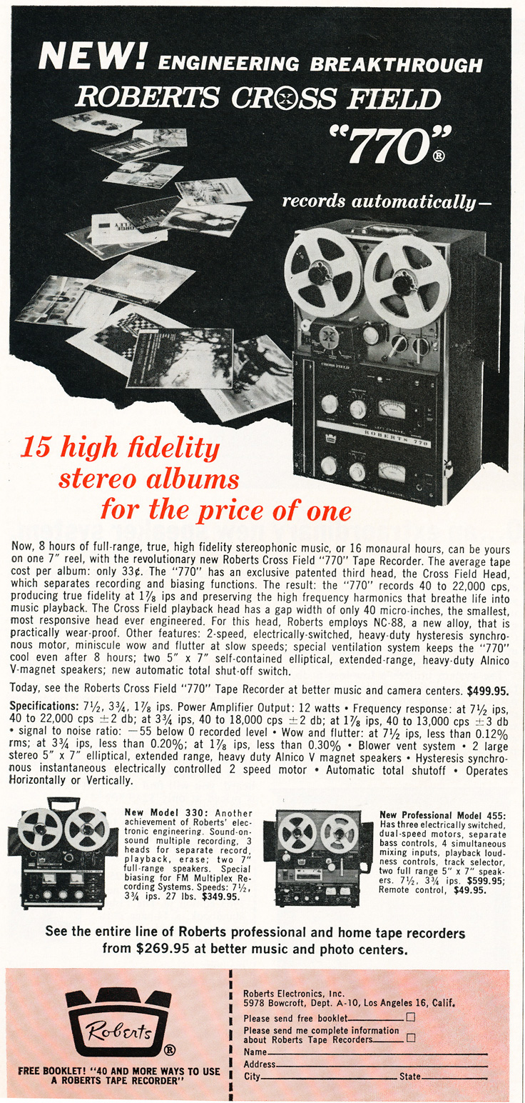 1963 ad for Roberts 770 reel to reel tape recorder in Reel2ReelTexas.com's vintage recording collection