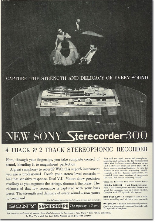 picture of 1963 Sony 300 tape recorder ad