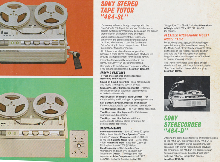Sony 464 SL & 464-D  in 1963 Sony catalog in Phantom Productions' reel tape recorder collection